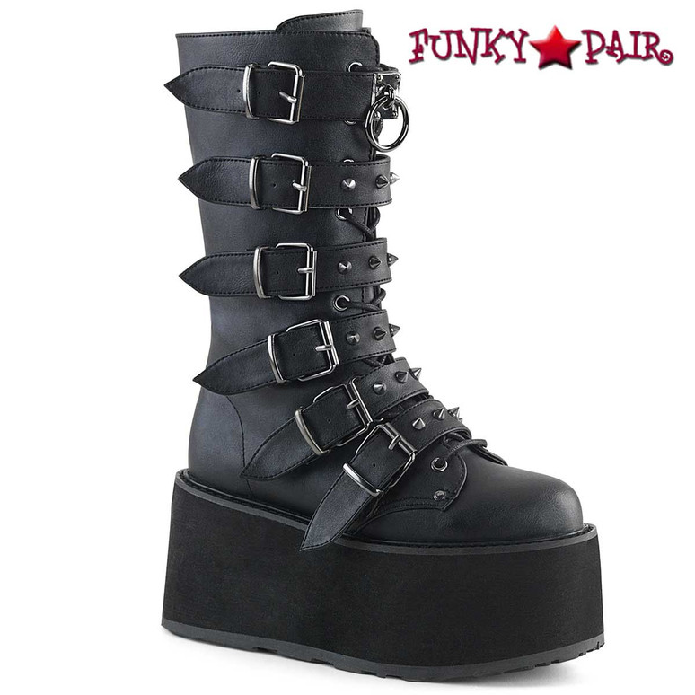 Damned-225, Goth Black Vegan Leather Mid Calf Studded Buckle Straps by Demonia
