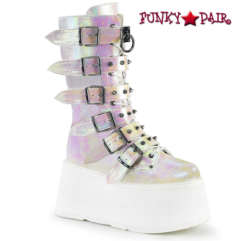 Damned-225, Raver Pearl Iridescent Buckle Straps Studded Boots by Demonia