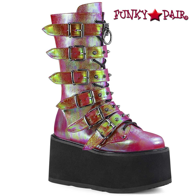 Damned-225, Raver Lime/Green Buckle Straps Studded Boots by Demonia
