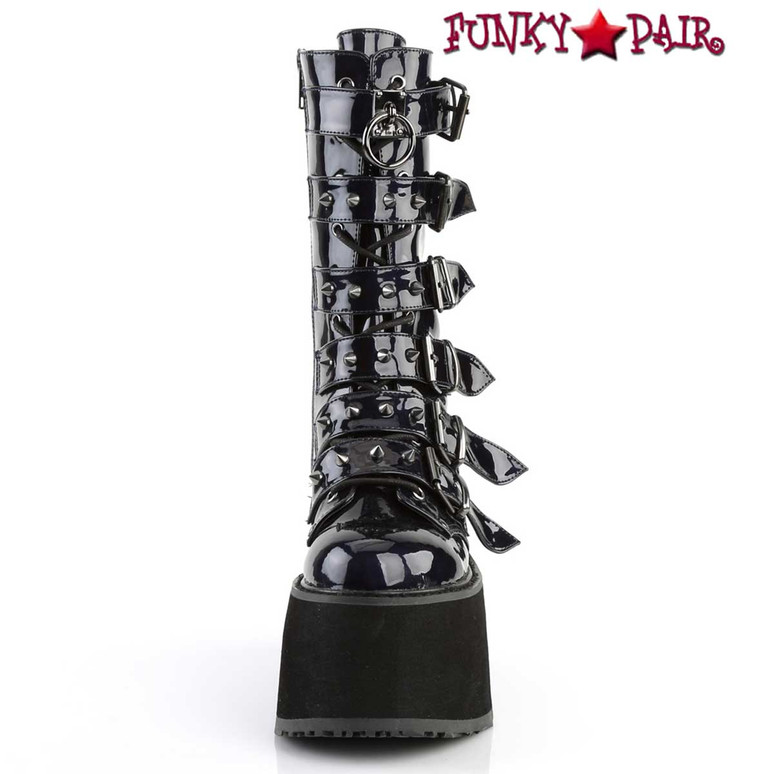 Damned-225 Women's Goth Buckle Straps Studded Boots by Demonia Front View