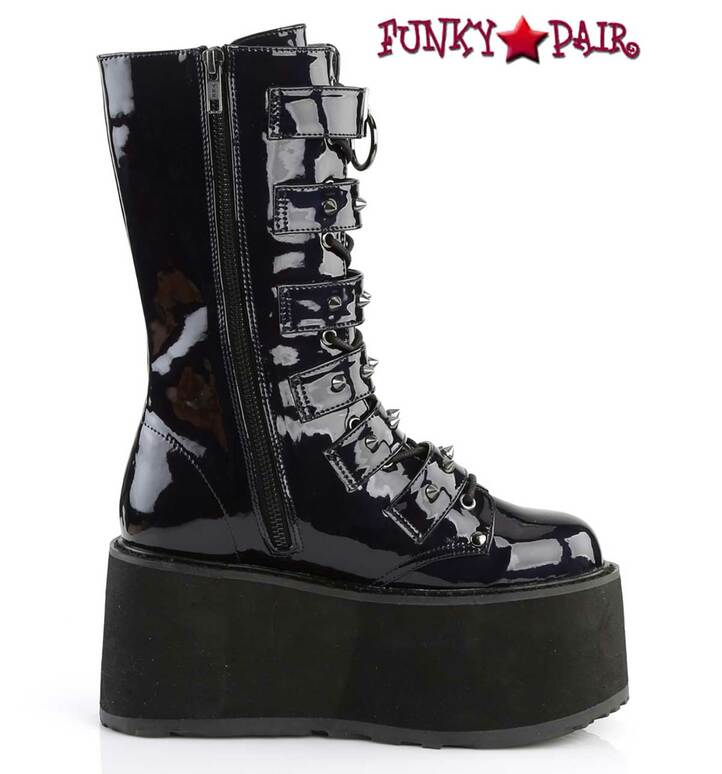 Damned-225 Women's Goth Buckle Straps Studded Boots by Demonia Zipper Side View