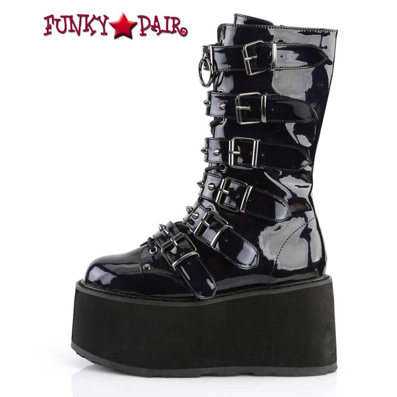 Damned-225 Women's Goth Buckle Straps Studded Boots by Demonia Side View