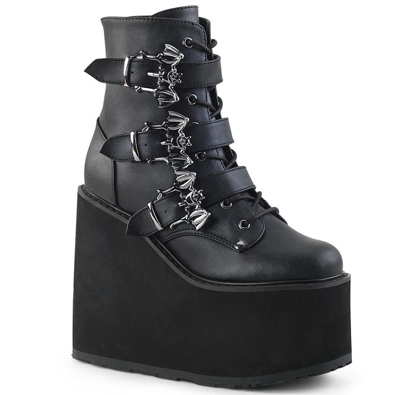Triple Bat Buckles Wedge Platform Ankle Boots by Demonia Swing-103