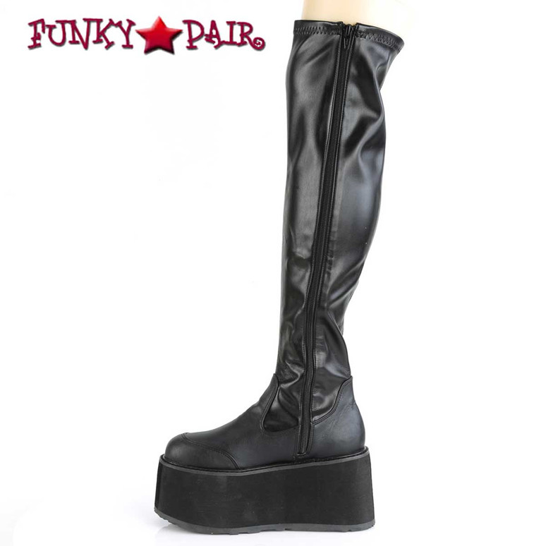 Damned-302, Gothic Thigh High Boots by Demonia Zipper Side View