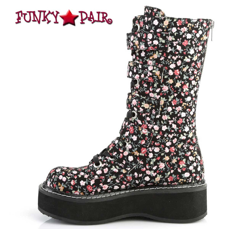 Goth Flower Buckle Straps Boots by Demonia Emily-340 Side View