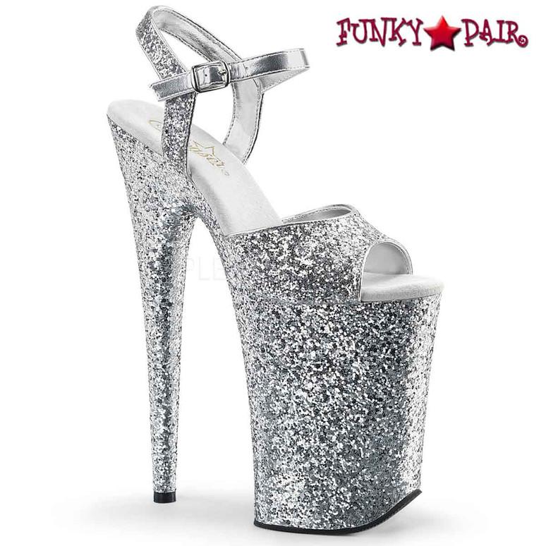Infinity-910LG, 9 Inch High Heel Platform Silver Glitter Ankle Strap