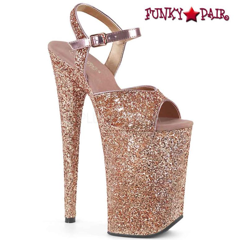 Infinity-910LG, 9 Inch High Heel Platform Rose Gold Glitter Ankle Strap
