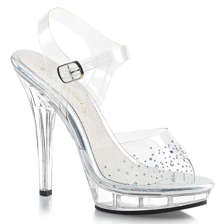 "Fabulicious | Lip-108SD, 5"" Clear Ankle Strap Sandal with Rhinestones on Vamp"