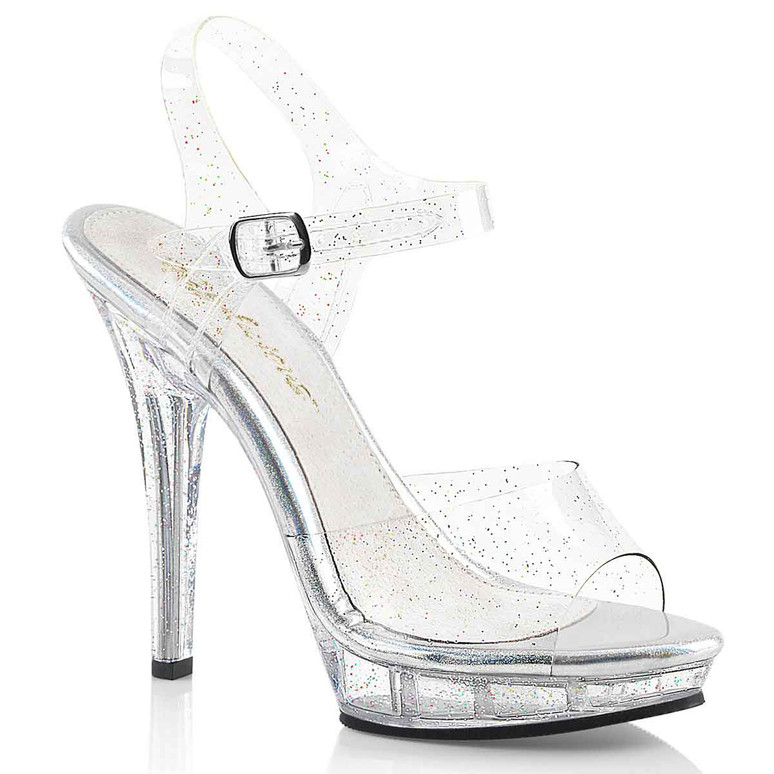 Fabulicious Women's Lip-108MMG Clear Sandals with Glitter