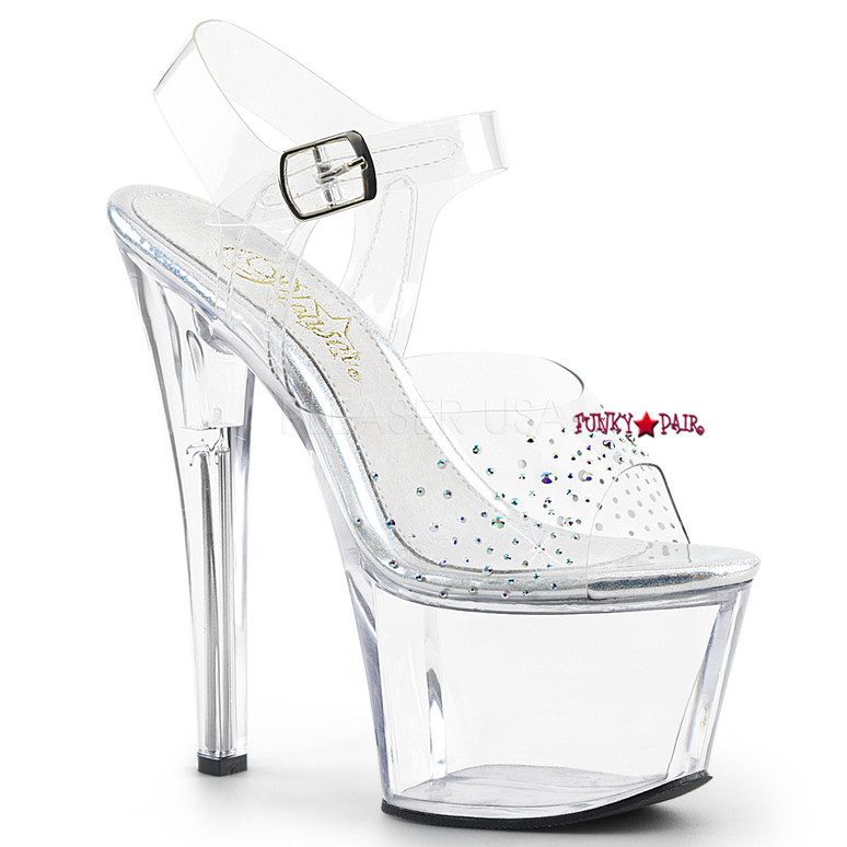 Sky-308SD, 7 Inch High Heel Ankle Strap Sandal with Rhinestones on Vamp