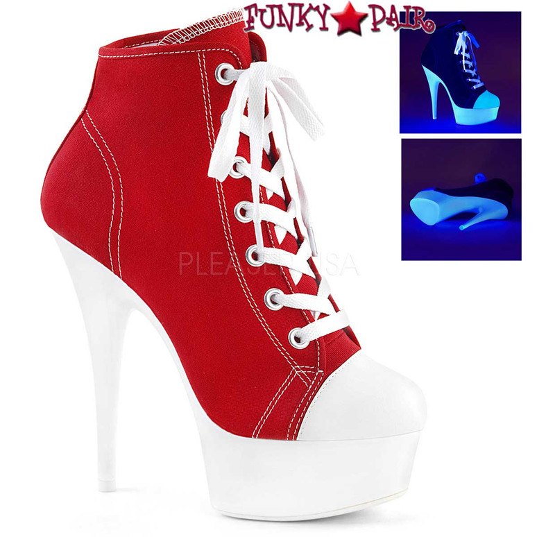 Pleaser | Delight-600SK-2, Neon Platform Canvas Sneaker Available Color: Red