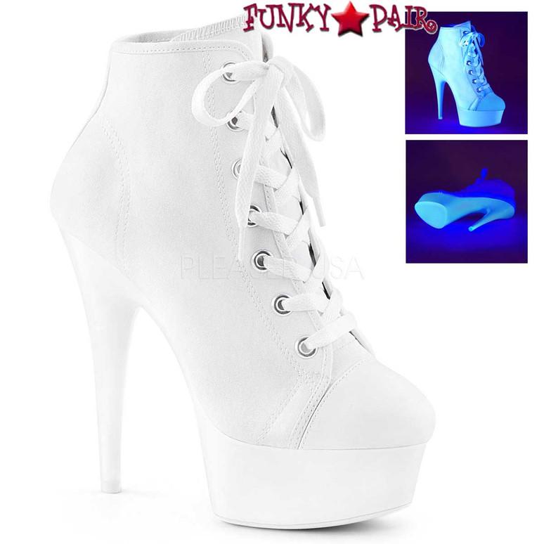 Pleaser | Delight-600SK-2, Neon Platform Canvas Sneaker Available Color: White