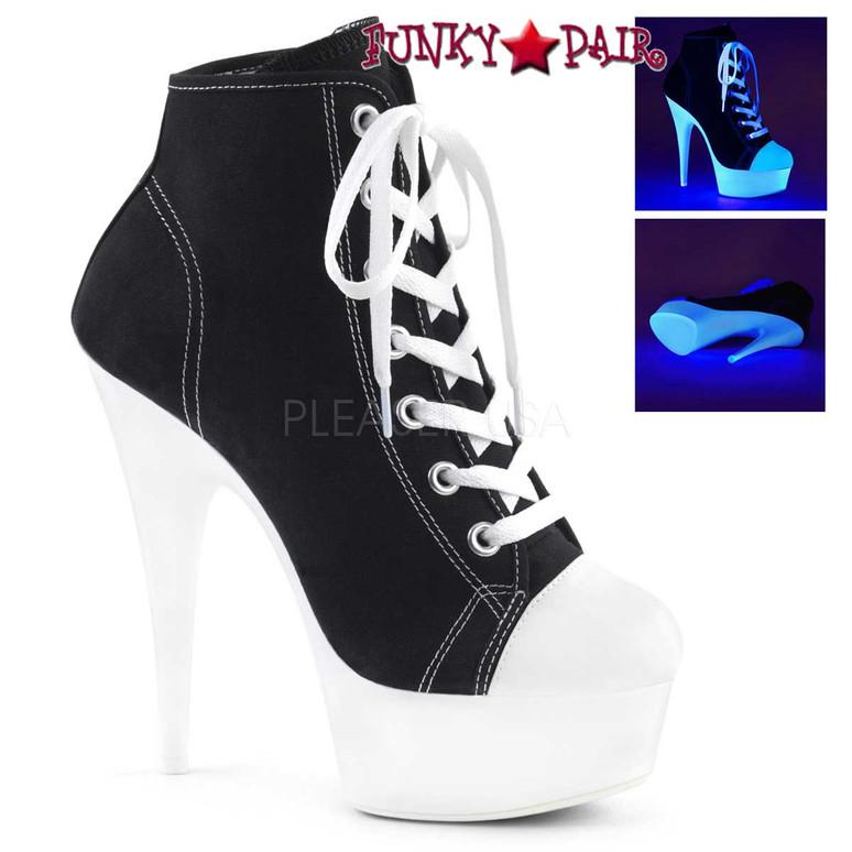 Pleaser | Delight-600SK-2, Neon Platform Canvas Sneaker Available Color: Black