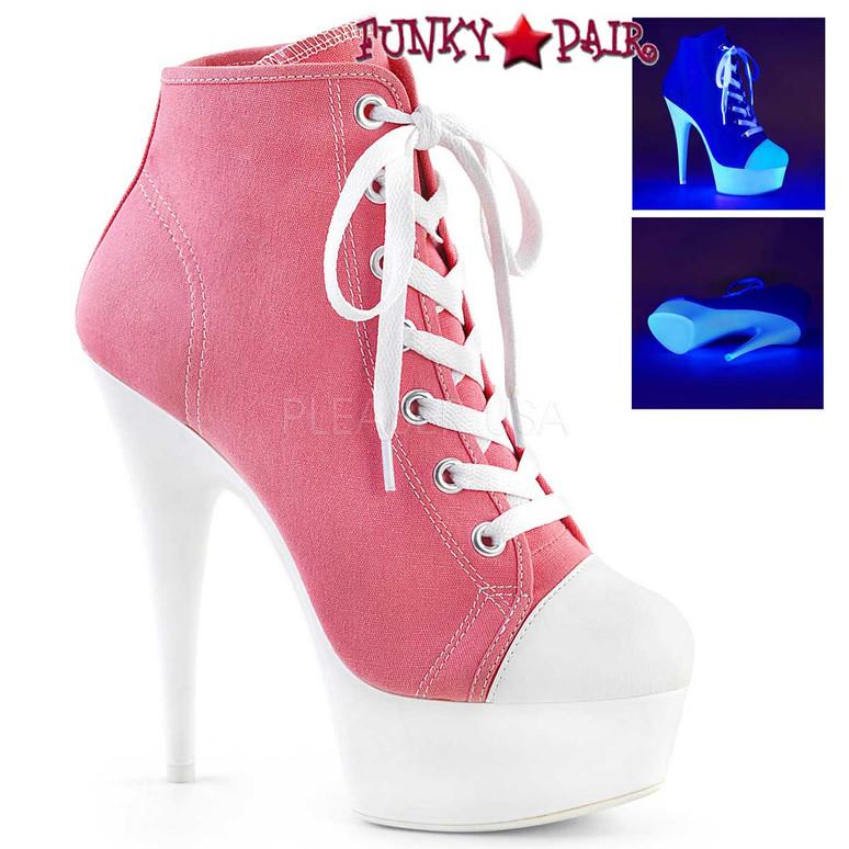Pleaser | Delight-600SK-2, Neon Platform Canvas Sneaker Available Color: Pink