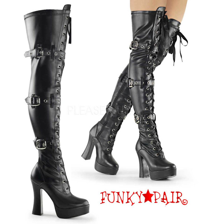 Pleaser | ELECTRA-3028, Thigh High Boots color black faux leather
