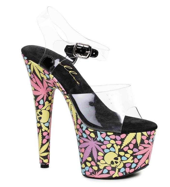 """Ellie Shoes   709-Haze 7"""" Dancer Leaf and Skull Shoes"""