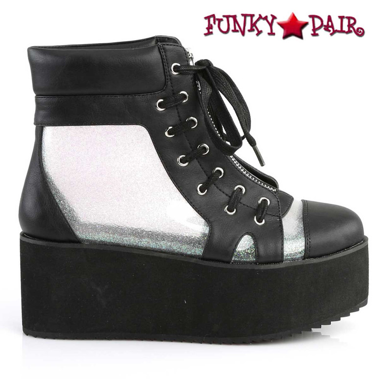 Demonia Grip-102, Platform Ankle Boots See-Through Panels