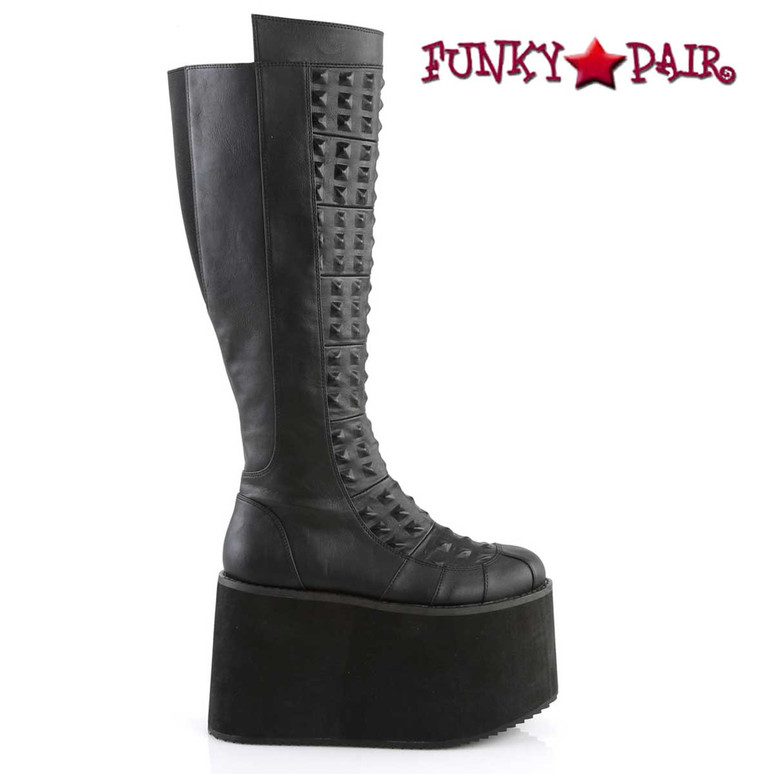 Demonia | ROT-13, Women's Platform Knee High Boots with Pyramid Stud