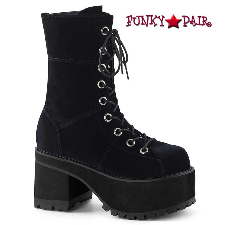 Demonia   Ranger-301S, Goth Chunky Heel Velvet Ankle Boots