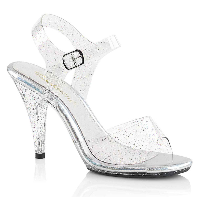 Fabulicious Women's Caress-408MMG Glitter Clear Sandal