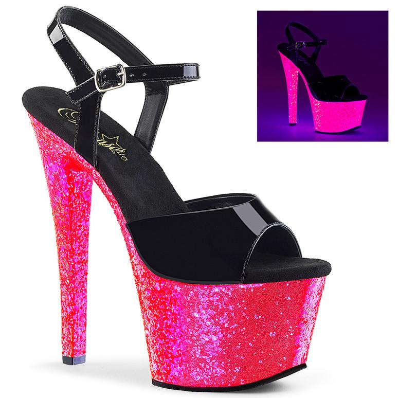 7 Inch High Heel Ankle Strap Sandal with Reactive Glitter Platform Sky-309UVLG, Pleaser Shoes
