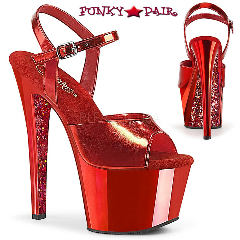 Pleaser Shoes | Sky-309TTG, Two Tone Ankle Strap Sandal with Glitter color red