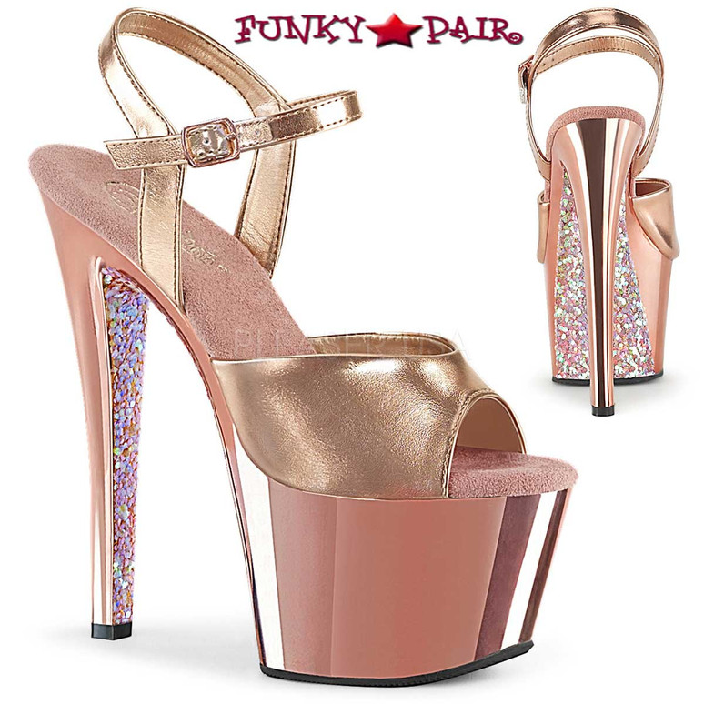 Pleaser Shoes | Sky-309TTG, Two Tone Ankle Strap Sandal with Glitter color rose gold