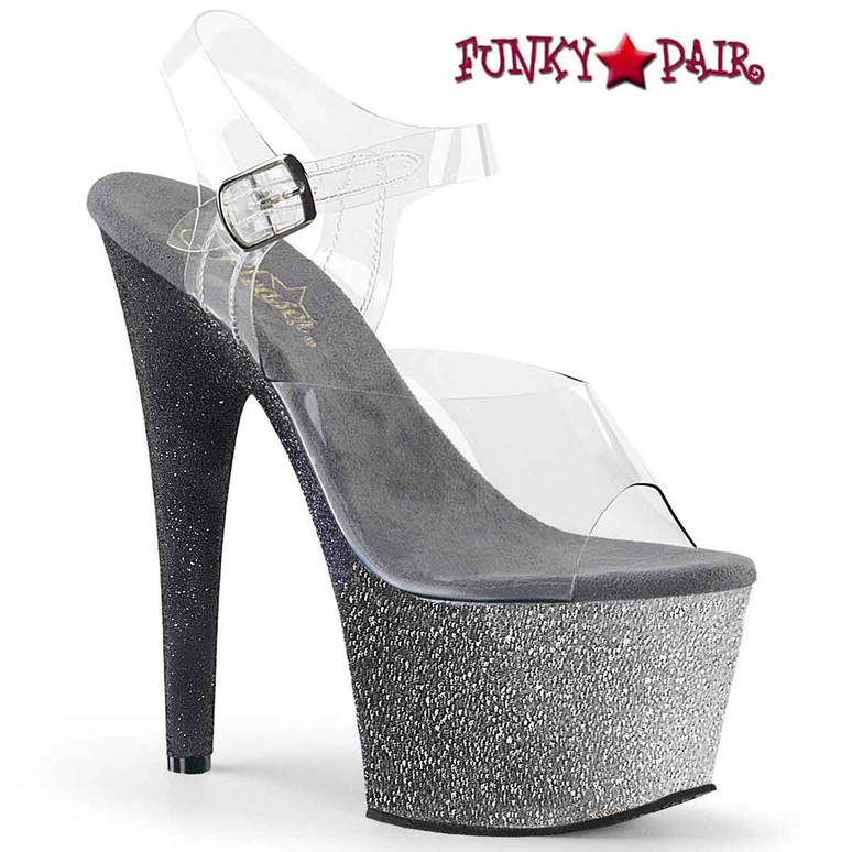 Adore-708 Ombre, Silver 7 Inch Ankle Strap Sandal with Ombre Effect by Pleaser