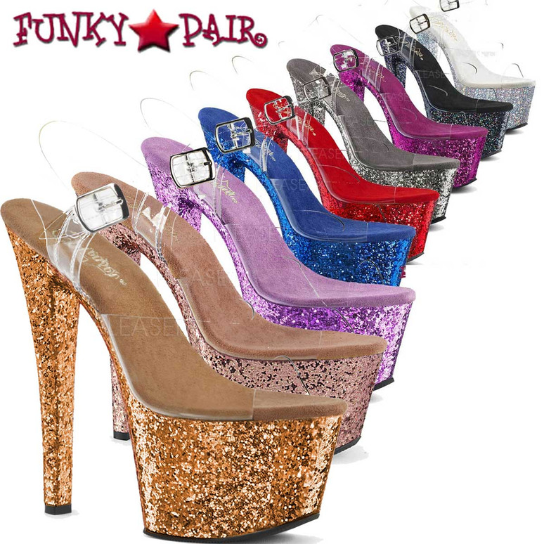 Sky-308LG, 7 Inch Ankle Strap Sandal with Glitters on Platform   FunkyPair.com