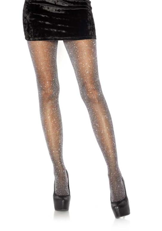 LA7130, Lurex Black/Silver Shimmer Sparkle Tights by Leg Avenue