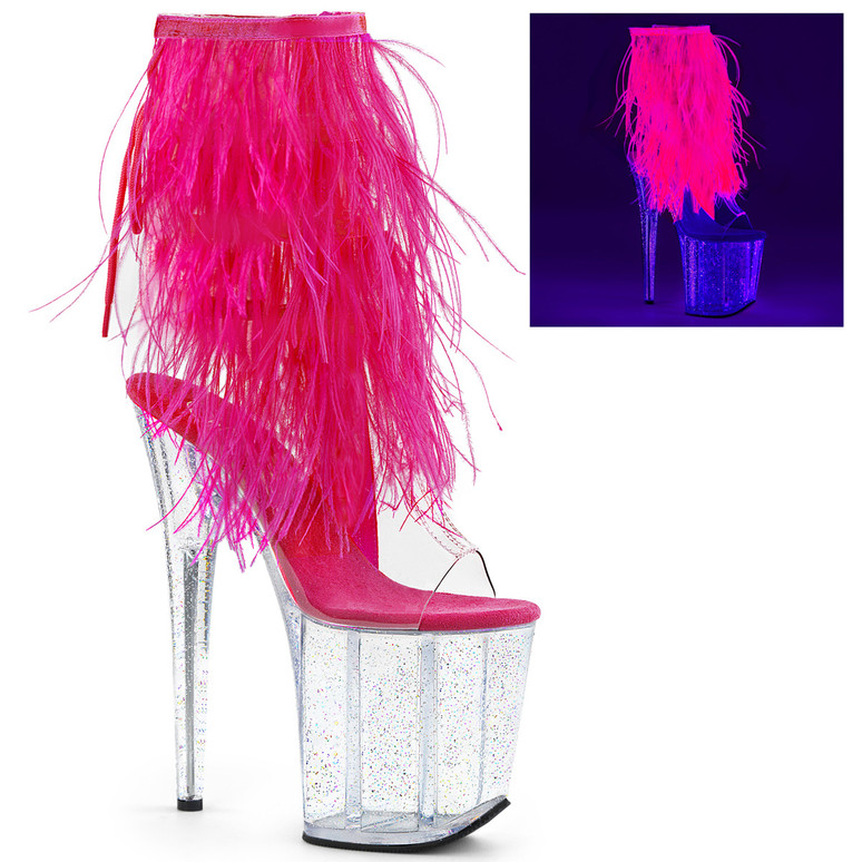 Pleaser Shoes | On Sale Stripper Ankle Boots with Marabou Fur Fringe