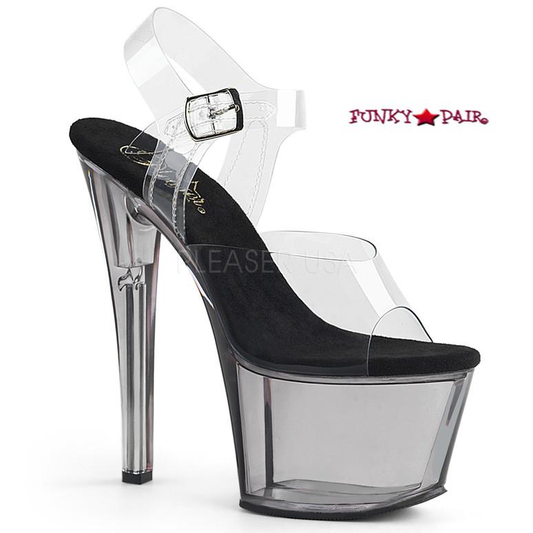 Sky-308T, 7 Inch High Heel Tinted Platform Sandal Color Smoke/Black