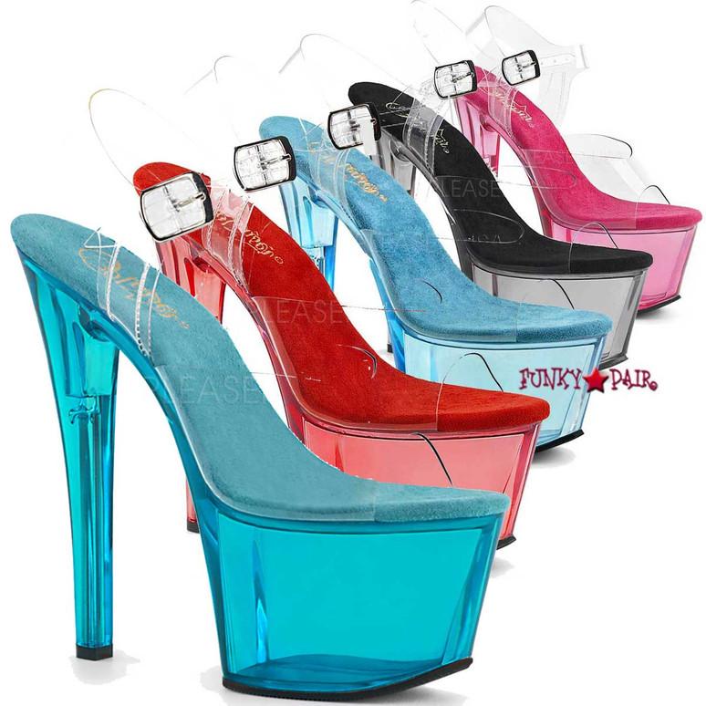 Pleaser | Sky-308T, Tinted Platform Sandal Color Available: Aqua, Red, Pink, Light Blue, Smoke=Black