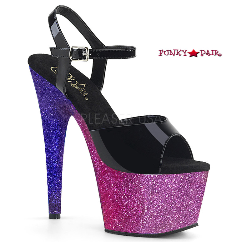 Adore-709Ombre, 7 Inch Heel Sandal with Glitter Ombre Effect Platform color fuschia