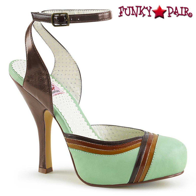 Cutiepie-01, Closed Toes Ankle Strap Sandal | Pin-Up Couture Color Mint Multi Faux Leather