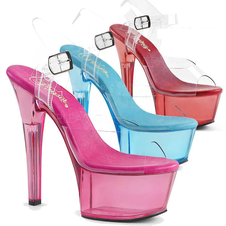 Stripper Shoes Aspire-608T, 6 Inch Ankle Strap with Tint Platform