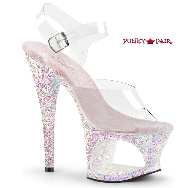 Moon-708LG, 7 Inch High Heel Cut-Out Platform Ankle Strap Sandal with Glitters Color Opal