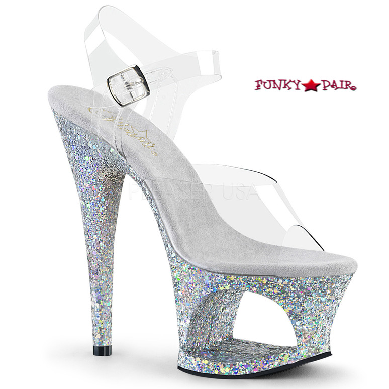 Moon-708LG, 7 Inch High Heel Cut-Out Platform Ankle Strap Sandal with Glitters Color Silver