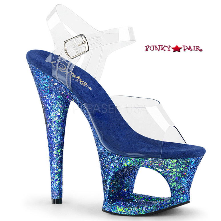 Moon-708LG, 7 Inch High Heel Cut-Out Platform Ankle Strap Sandal with Glitters Color Blue