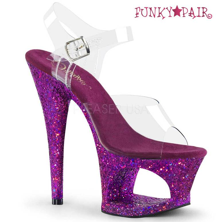 Moon-708LG, 7 Inch High Heel Cut-Out Platform Ankle Strap Sandal with Glitters Purple