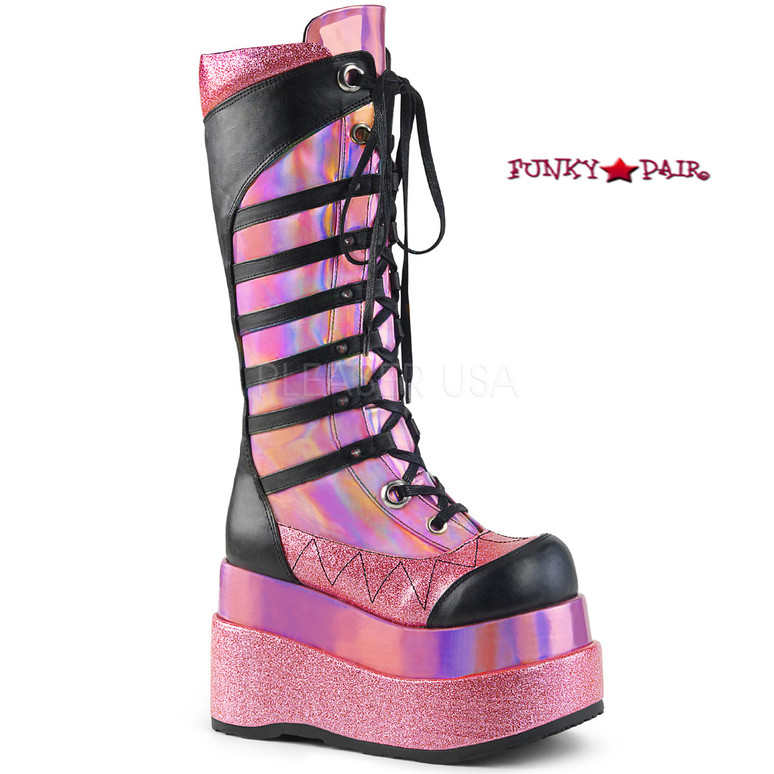 Bear-205, 4.5 Inch Platform Lace up Knee High Boots with Cone Studs color pink