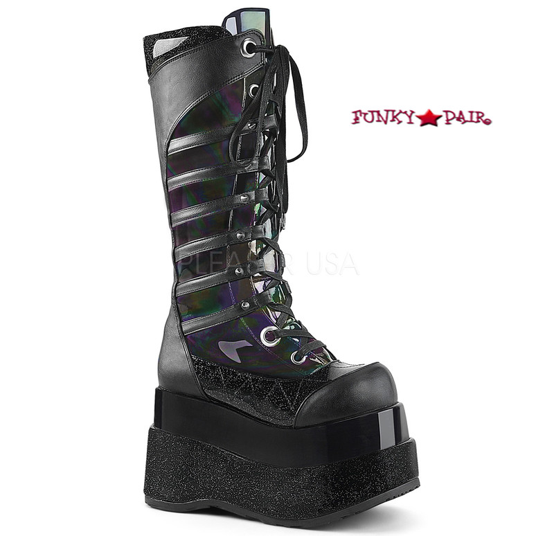 Bear-205, 4.5 Inch Platform Lace up Knee High Boots with Cone Studs color black