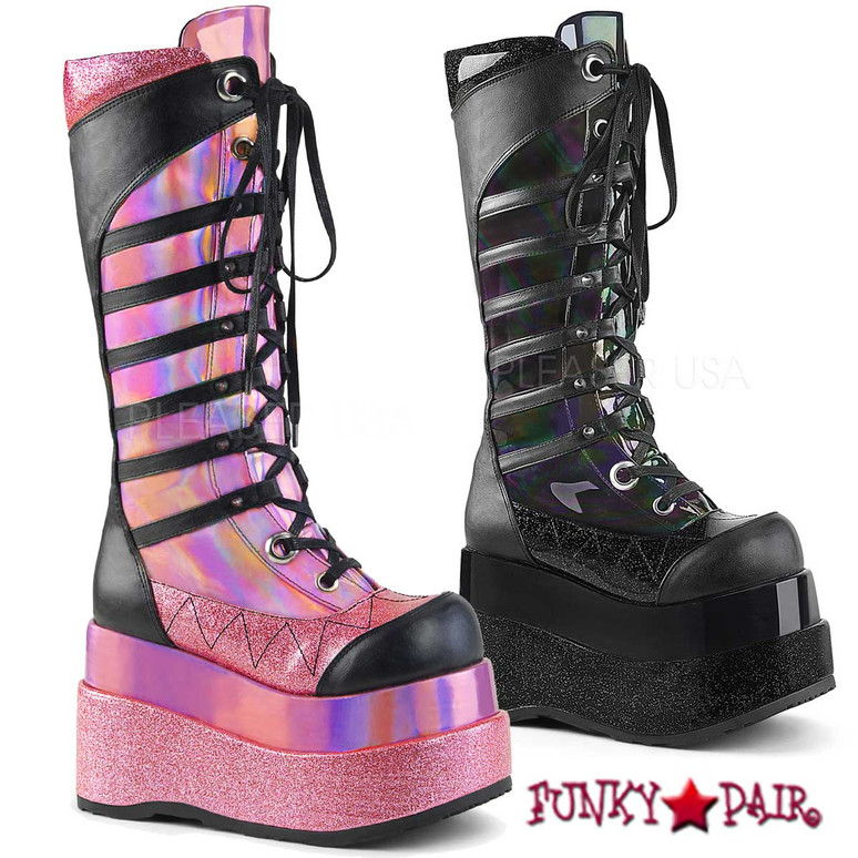 Bear-205, 4.5 Inch Platform Lace up Knee High Boots with Cone Studs   FunkyPair.com
