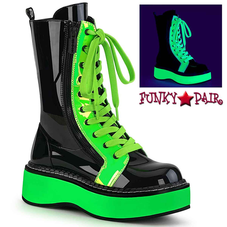 Emily-350 Neon Green Rave Platform Mid-Calf Boots by Demonia