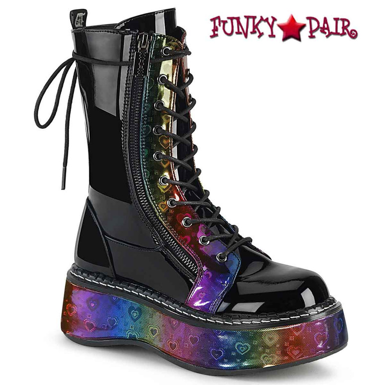Emily-350 Women's Platform Mid-Calf Boots by Demonia color Rainbow