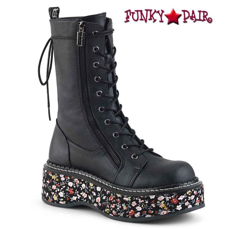 Demonia Women's Mid-Calf Boots Emily-350 color black Vegan Leather-Floral Fabric