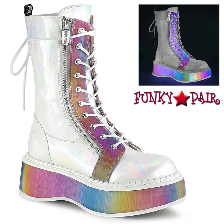 Raver Women's Boots | Mid-Calf Boots Emily-350 color white Brushed Hologram Vegan Leather-Rainbow Reflective