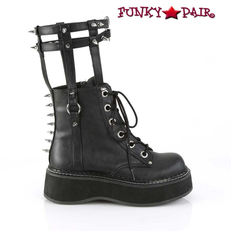 Demonia   Emily-357, Cage Style Goth Platform Boots side view
