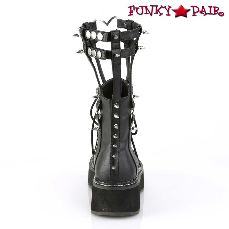 Demonia   Emily-357, Cage Style Goth Platform Boots back view