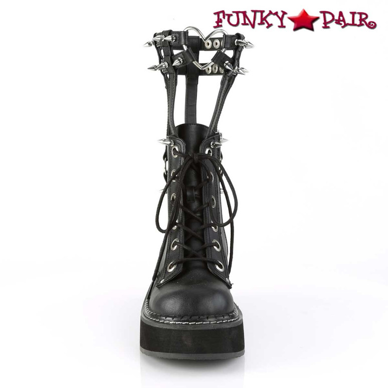 Emily-357, 2 Inch Ankle Boots with Cage Style Leg Brace front view
